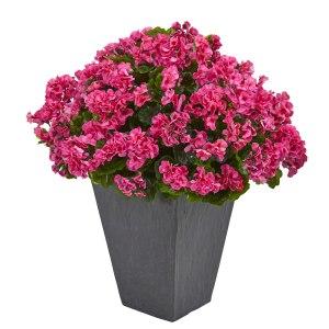 Geranium Artificial Plant in Slate Plater UV Resistant (Indoor/Outdoor) 6499