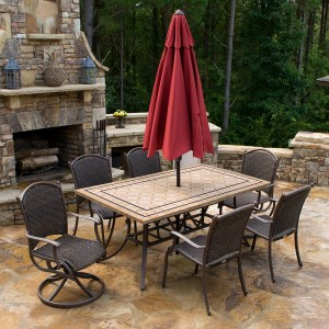Marquesas 7 Piece Dining Set 6 chairs, 70 inch stone table MQS-7PC