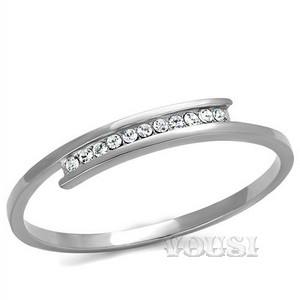 Clear Crystal Stainless Steel Bangle BA0T-08095