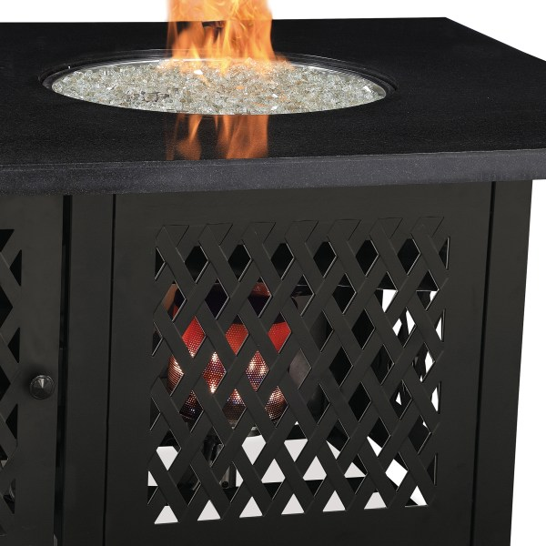 DUAL HEAT LP GAS OUTDOOR FIRE TABLE WITH BLK GRANITE MANTEL GAD18100M