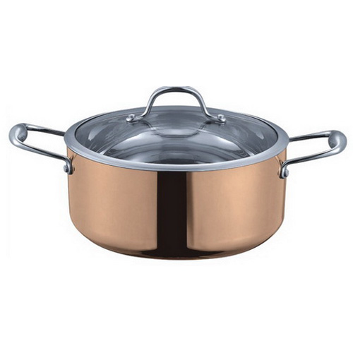 5-ply Copper Dutch Oven with Tempered Glass Lid 5-quart LCSKC901-DO4 3/4-GAL