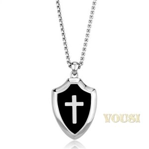 Stainless Steel Black Epoxy Cross Pendant 20 inch Necklace NE0T-08376