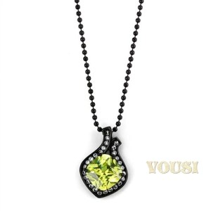 Apple yellow CZ Cubic Zirconia Stainless Steel 16 inch Black Necklace NE0T-08420