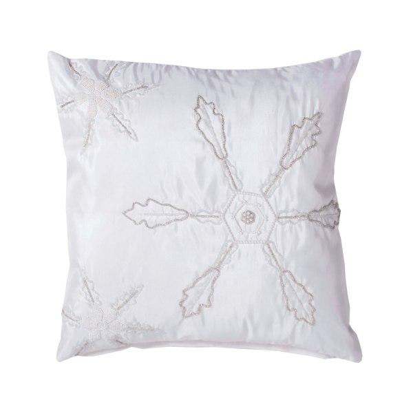 "Vickerman 18"" x 18"" Beaded Snowflakes Pillow QTX17054"