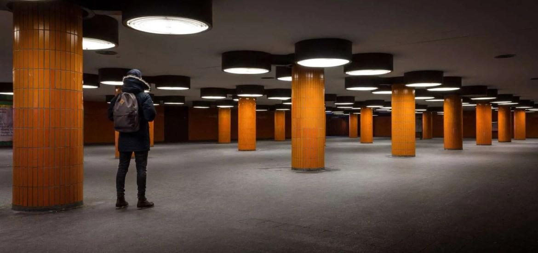 man in empty office