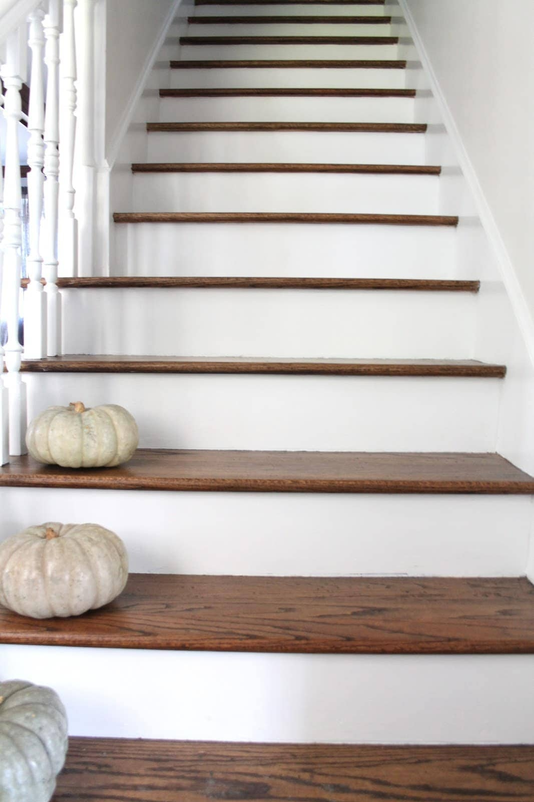 Stair Makeover Treads And Risers Exposed | Dark Wood Stairs With White Risers | Wall | Beautiful Wood | Wooden | Modern | Floor