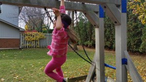 Hanging out on the monkey bars