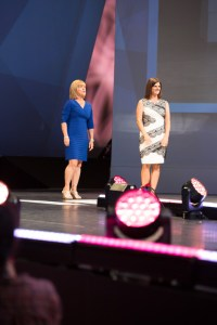 Julie on stage with Dr. Karen Wolfe, August
