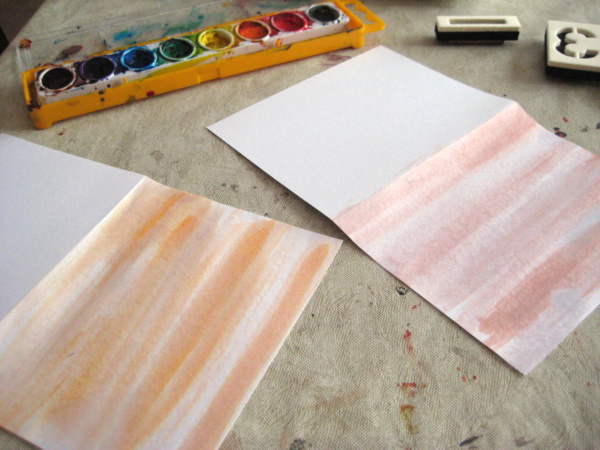 watercolor wash on cards