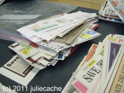 stack of coupons from meetup frugal family examiner