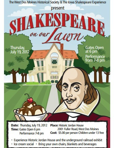 shakespeare on the lawn, west des moines, historical society