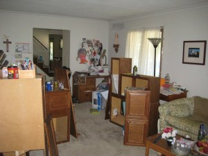 juliecache's living room is full of kitchen cabinets