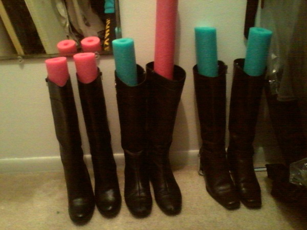 pool noodles for storing boots