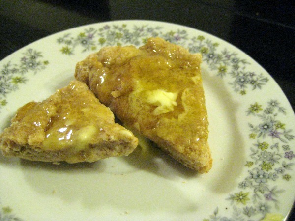 local honey, biscuit made from scratch, warm and good, even with fake butter