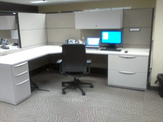 Cubicles. Not real stimulating, but the people were generally really great.