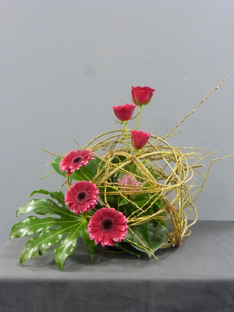 Flowers and a woven_willow_sphere