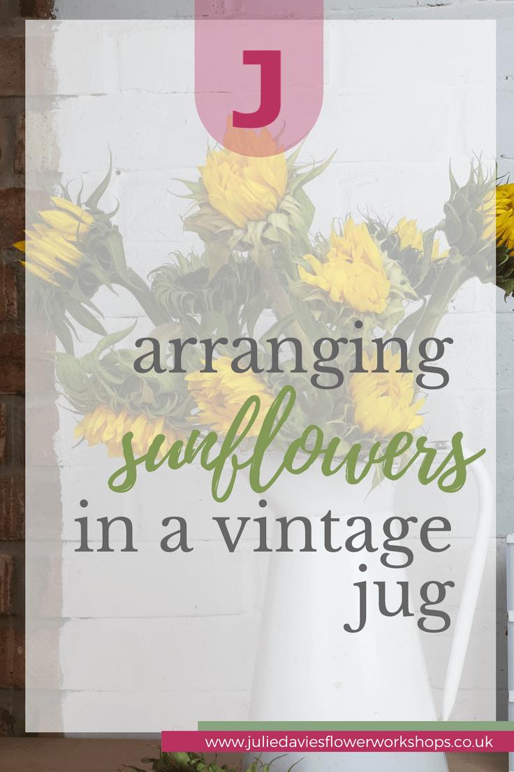 arranging sunflowers in a vintage vase