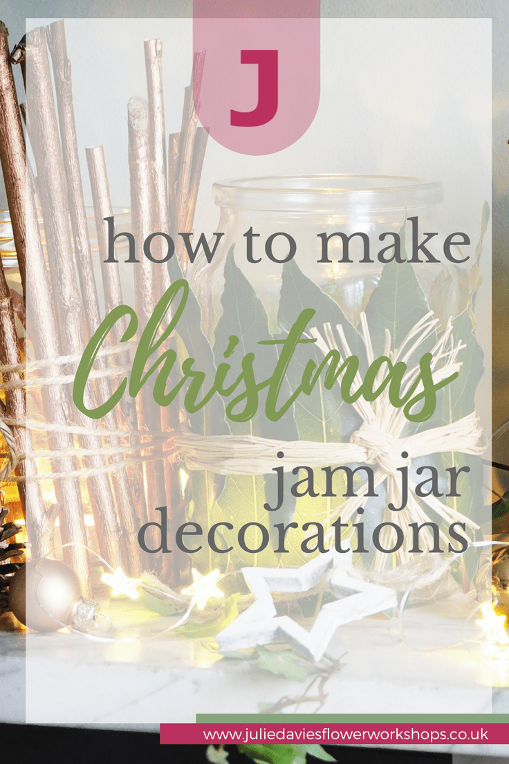 Decorating jam jars for Christmas