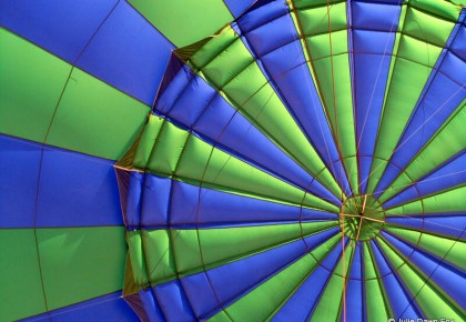blue and green hot air balloon, inside