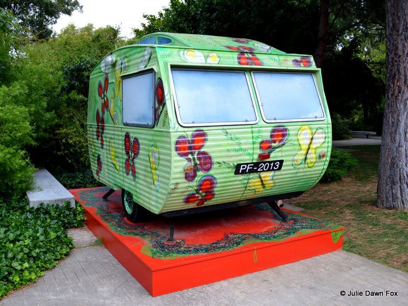 Rulote, a caravan painted with flowers and butterflies by Fátima Mendonça as part of the Next Future exhibition at the Gulbenkian in Lisbon