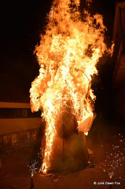 Burning effigy