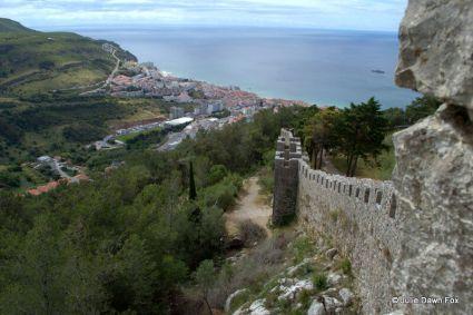 View along Sesimbra castle walls