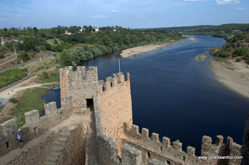 View along the River Tagus from the towers of Almourol castle, Portugal. Photography by Julie Dawn Fox