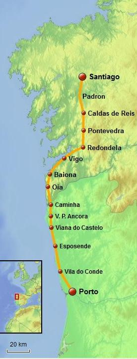 Portuguese Way of Saint James Coastal Route map