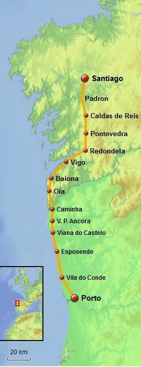 What Is The Coastal Portuguese Camino De Santiago Like - Portugal map silver coast