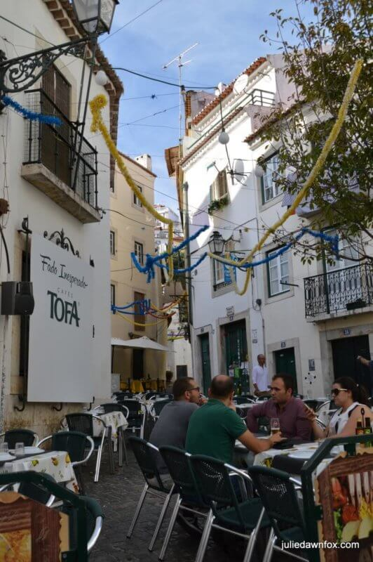 Street restaurants and decorations in Alfama, the oldest neighbourhood in Lisbon