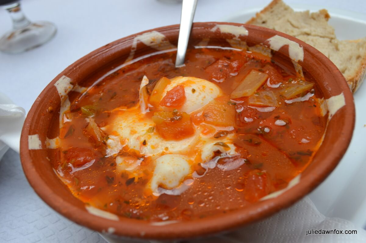 Alentejo tomato soup with bread and poached egg