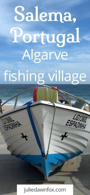 Salema beach Portugal. Traditional Algarve fishing village