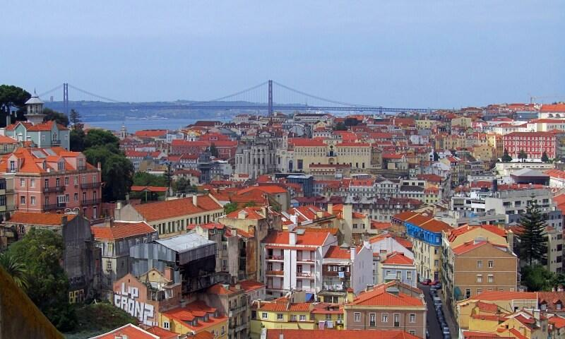 View of Lisbon's colourful buildings from Graça viewpoint