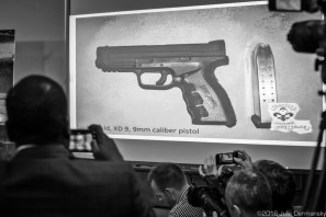 A picture shown on a screen at a press confernce of one of the guns a lone gunman in Baton Rouge used when he attacked lawenforcement officers in Baton Rouge, killing three of them.