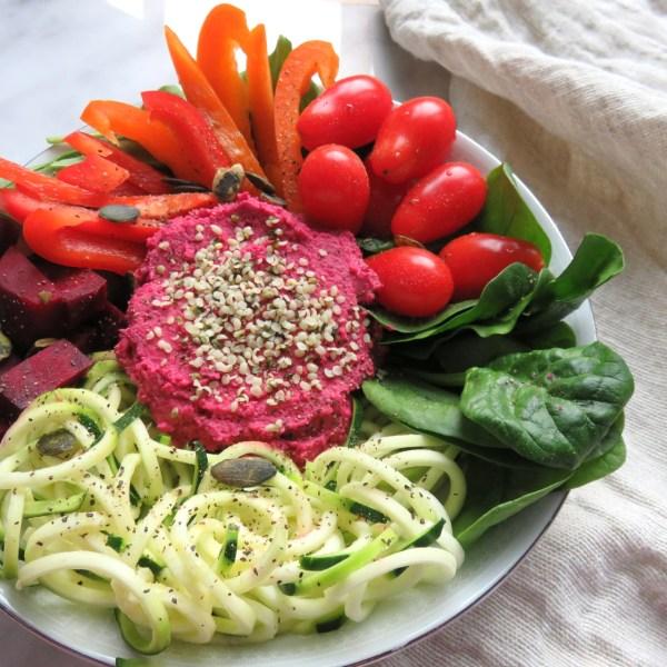 pink beet hummus zoodle buddha bowl