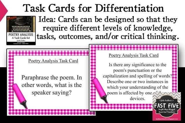 Poetry Task Cards for Analysis Secondary