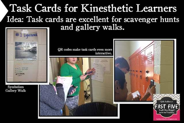 High School Task Cards for Scavenger Hunts, Gallery Walks