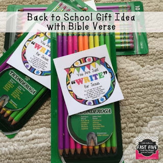 Back to School Pencil Gift Tag with Bible Verse