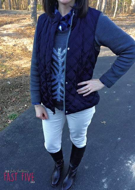 Navy Puffer Vest, Snowflake sweater; Plaid Top, Layers, Winter White