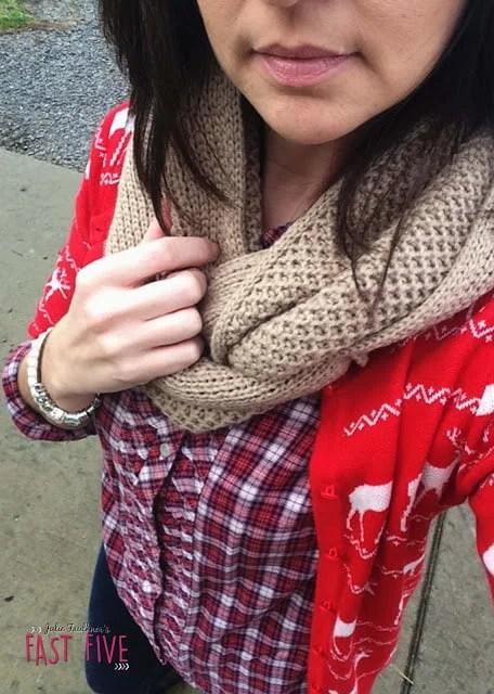 Red Reindeer Sweater, Plaid, Black Sperry Rain Boot