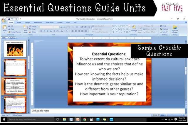 The Crucible Unit Essential Questions