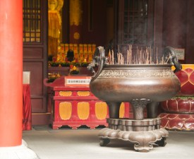 The incense burner outside the temple
