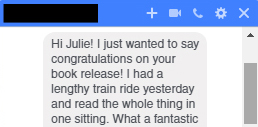 Hahaha, remember that time someone I had writing classes with read my book in one sitting?