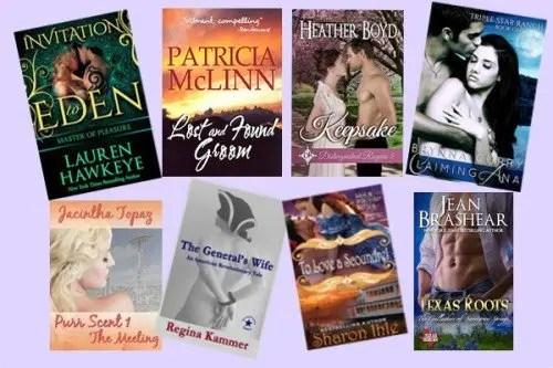 Hump Day books from Lauren Hawkeye, Patricia McLinn, Heather Boyd, Brynna Curry, Jacintha Topaz, Regina Kammer, Sharon Ihle, and Jean Brashear!