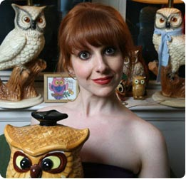 julie klausner, julia, klasner, clausner, clasner, klosner, closner, klausnor, clausnor, i don't care about your band, comedian, comedienne, writer, author, phot, owls, owl, figurine, pale, redhead, jewish, woman