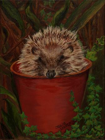 Potted Hedgehog | Oil on Canvas by Julie Lovelock
