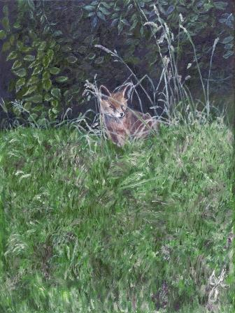 Secret World Fox | Oil on Canvas by Julie Lovelock