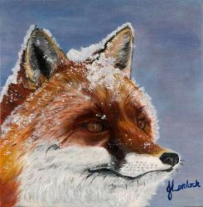 Snowy Whiskered Gentleman Oil on Canvas by Julie Lovelock