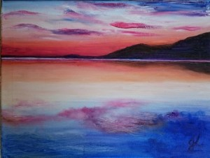 Sunset Reservoir | Oil on Canvas by Julie Lovelock