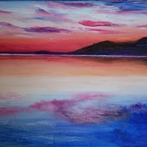 Sunset Reservoir | Oil on Canvas by Julie Lovelock